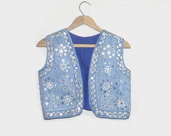 1970s vest / vintage 70s vest / small s / Turkish Embroidered Vest