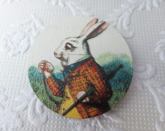 Alice in Wonderland White Rabbit Print Wood Print Brooch