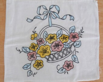 Vintage Hand Embroidered Pillow Cover • Embroidered Colored Pillow Cover • 13 x 15 Basket with Flowers