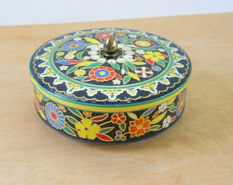 Vintage Tin Black Floral • Embossed Tin Made in England • Orange Yellow Blue Red