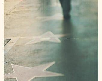 SALE photography, Hollywood photo, Walk of Fame, Hollywood Boulevard, stars, urban decor Los Angeles, LA, green blue, Myan Soffia, Californi