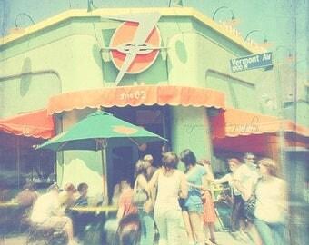 SALE photography, Los Angeles photograph, mint green, orange, citrus, retro, Vermont Ave, Los Feliz food, eat, hipster, restaurant cafe peop