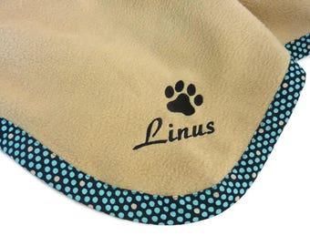 Pet Blanket.Personalized Pet Blanket. Dog Blanket. Cat Blanket. Fleece Pet Blanket. Blue Dots Pet Blanket