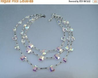 ON SALE GORGEOUS Multi Strand Deco Ab Aurora Borealis Faceted Crystal Necklace
