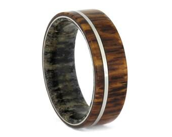 Deer Antler Sleeve Ring With Honduran Rosewood, Titanium Wedding Band