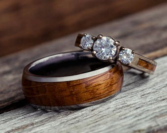 Wood Wedding Ring Set, White Gold And Titanium Rings, His And Hers Nature Ring Set