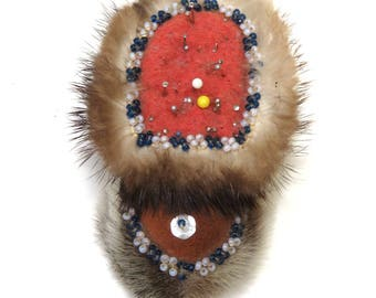 Vintage Beaded Pincushion/ Fur & Leather Moccasin Boot/ Pacific Northwest Native Folk Art