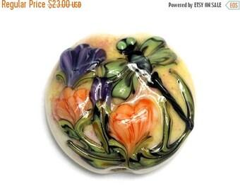 ON SALE 35% OFF Green Dragonfly w/Orange Flora Lentil Focal Bead - Handmade Glass Lampwork Beads - 11816802