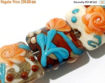 ON SALE 30% off Seven Turquoise Autumn Pillow Beads -11002204-Handmade Lampwork Glass