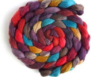 Polwarth/Silk Roving - Handpainted Spinning or Felting Fiber, Festival Day