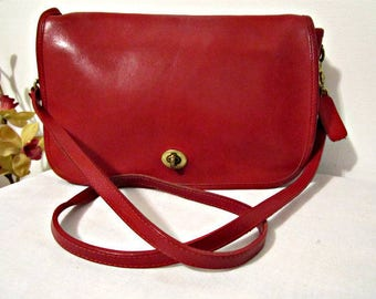 Coach Leather Bag,  Cross-body Coach bag, Red Coach bag, Made in USA Coach bag