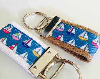 Boat Keyfob, Sailboat keychain, keychail for Boat,  keychain ribbon Sailboat Ribbon Key FOB, Summer Keychain, Chapstick holder, Boat Lovers