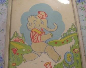 On Sale Vintage framed nursery print decor elephant in sailor hat by J.T. Citroen N.Y.