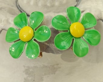 On Sale Vintage mod 1960s enamel flower earrings lime green and yellow daisy blossoms clip on earrings