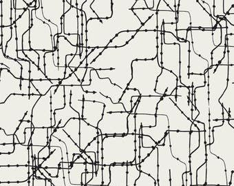Clearance 1 yard Subway Routes Art Gallery Fabrics GRA-4501