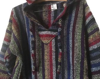 Colorful Vintage Baja, Rainbow Striped Baja, Mexican Hooded Baja, Vintage Mexican Hoodie, Ras Trent Drug Rug Rasta Hippie hoodie Playawear L