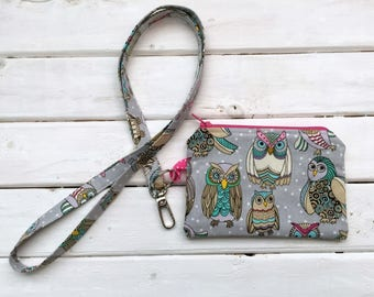 Lanyard With Zipper Pouch- Gray Owls
