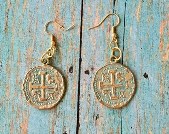 CROSS Coin Earrings Light Gold with Turquoise GREEN Patina Charms Dangle Pierced