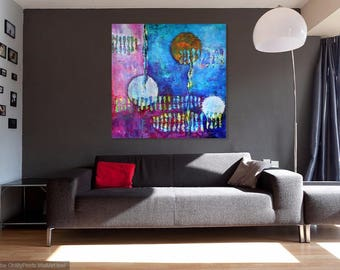 Large Original Abstract Painting Large Wall Art FREE SHIPPING Large Colorful Vibrant Painting Acrylic Modern Contemporary One of a Kind