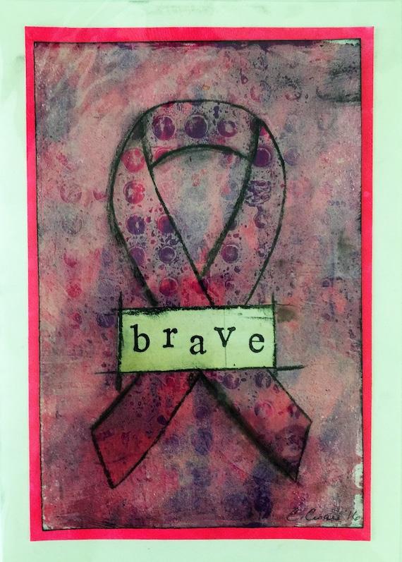 Pink Ribbon Breast Cancer Awareness Card Original Art Blank Card