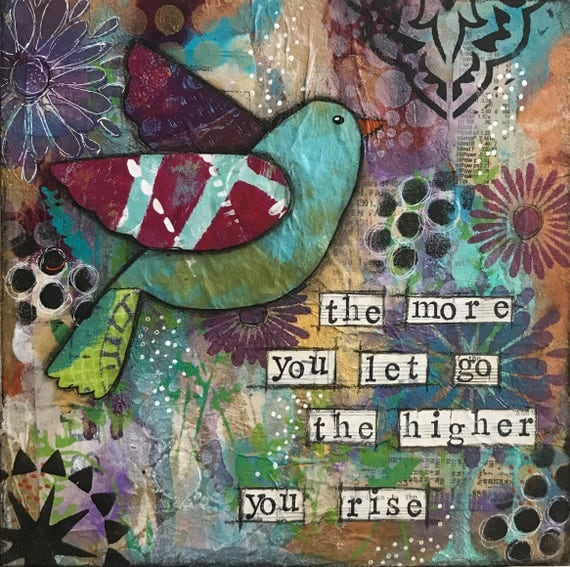 Original Mixed Media Painting on Wooden Panel Bird Positive Quote Affirmation Colorful Gift Item
