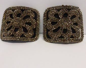 Pair of Antique Victorian Steel Cut Shoe Buckles