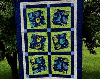 Happy Dragon Baby Quilt in Lime Green and Blues with Minky back