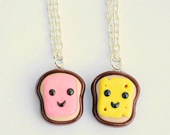 BFF Necklaces Ham and Cheese, Best Friend Necklaces, BFF Charm, Kawaii Charms, Tween Jewelry, BFF Gift, Anniversary Gift