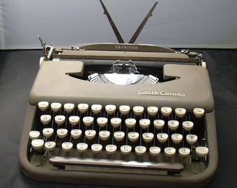 Vintage Smith Corona Skyriter Ultra Portable Typewriter with Case and Instruction Booklet