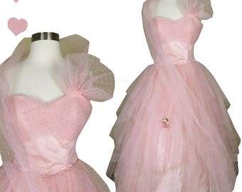 Vintage 50s Dress // Pink Tulle Tiered Full Skirt Prom Dance Party Gown XS Cupcake Princess Pinup Rockabilly Wrap Strapless Spaghetti Straps