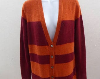 100% Cashmere Sweater Size L Orange Red Striped Cardigan Laundry 44 Chest Tunic
