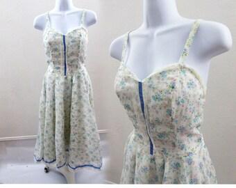 Vintage 70s Gunne Sax Dress Size XS Blue Ditsy Floral Hippie Boho Prairie Calico