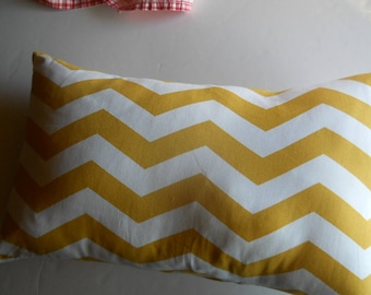 SALE, Yellow and white chevron pillow cover, 12 x 18, 18x18,16x16