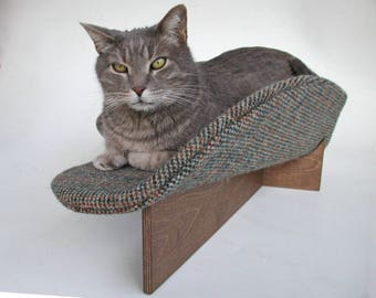 Midcentury modern pet bed boomerang in irish tweed in brown, teal, rust with unstained wood or walnut stain