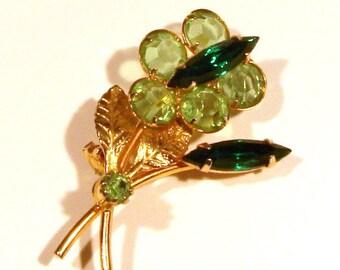 Floral Pin - Emerald and Peridot