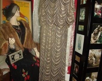 Vintage  90s Flapper Dress Fringes  Lace  Metallic  Tea party  Size 18W