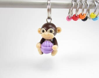 Monkey Stitch Markers, Monkey progress keepers, monkey planner charm with yarn ball, knitting, gift for knitters, polymer clay animal cute