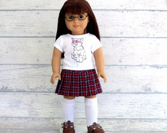 Hip Kitty Tee Shirt and Pleated Skirt, 18 inch Girl Doll Clothes Top and Skirt Outfit