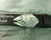 Trout Fish Belt Buckle in Solid Sterling Silver for 1.5 inch belts  Rainbow, Cut throat, Steelhead Hand Made