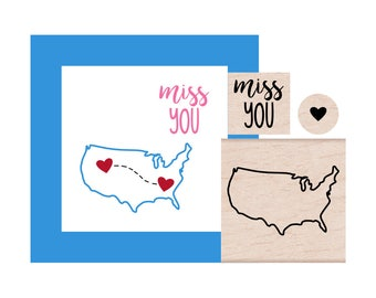 NEW for 2017 United States and Miss You and tiny Heart Rubber Stamp set