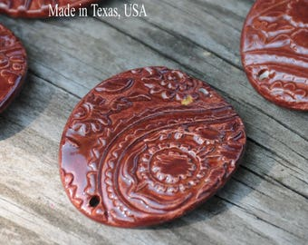 Handmade Pottery Bead in Rust Red