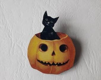 ♥ a ♥ pumpkin black cat wooden brooch