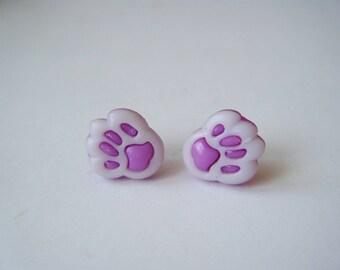 Earrings cat paws purple ♥ ♥