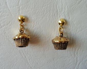 Earrings mini cupcakes - gold