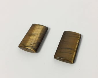 Pair of 25 mm Thin Puffed Rectangle Tiger's Eye Beads - Beautiful Match with Gorgeous Color and Cut
