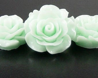 Cabochon Resin Flower 4 Resin Round Rose Flower Barely Blue 20mm x 9mm (1019cab20m4-3)