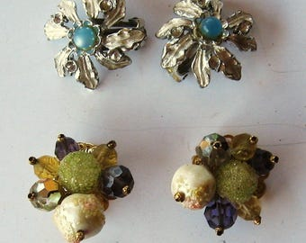 Clip Earrings Vintage 1960's and 1970's Judy Lee and Marvella
