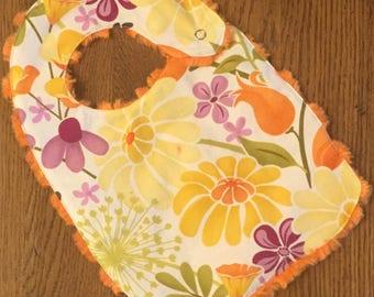 NEW...Yellow, Orange, Green and Purple Flower Minky Baby/Toddler Bib