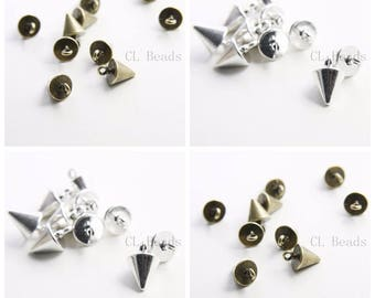 12pcs Antique Brass Tone Oxidized Silver Tone Base Metal Charm - Conical or Spikes 15x9mm (35464Y)(H-332)(H-333)