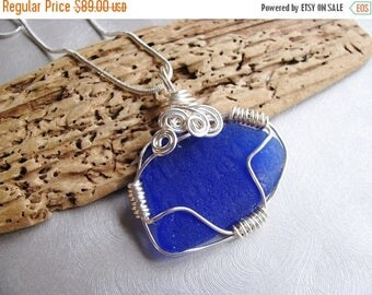 SEA GLASS SALE Statement Pendant  - Beach Glass Pendant - Phillips Sea Glass - Cobalt Blue Sea Glass - Wire Wrapped - Beach Glass Jewelry